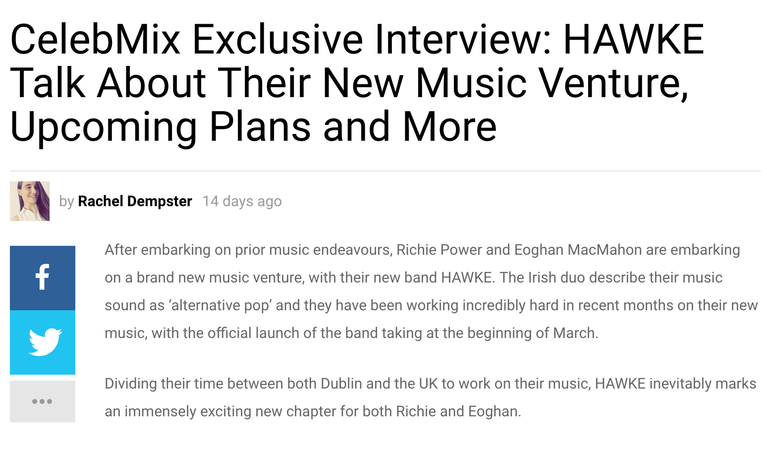 """- Interview: 13th March 2019""""We've got some festivals coming up, Hit The North in Newcastle being one and we'll be playing a couple of support shows"""