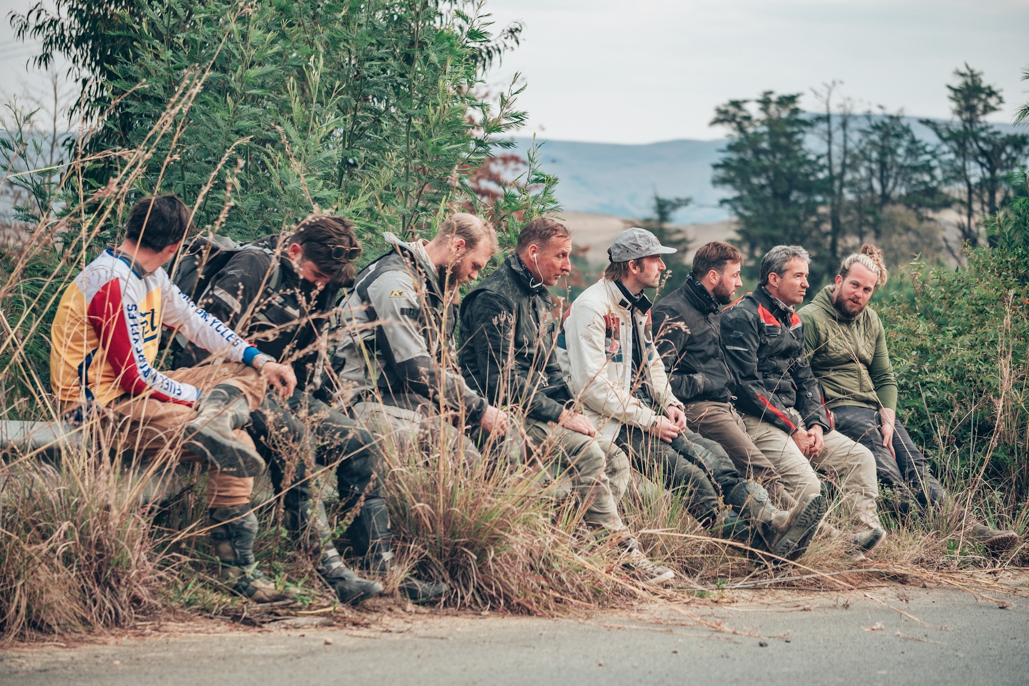 The group taking a break while we wait on a few more riders on the Bonafide Moto Adventure to Sani Pass.