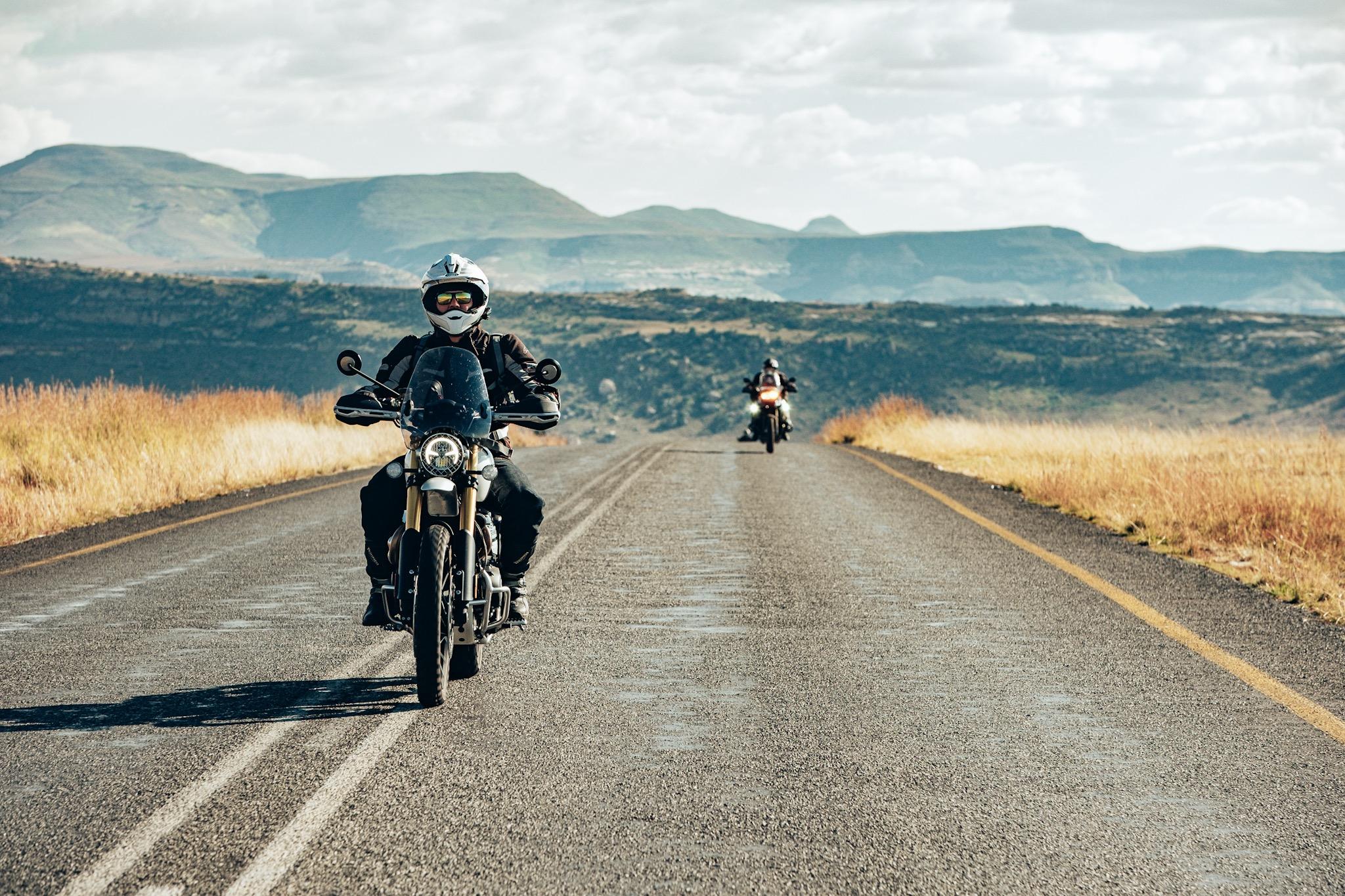 The 1200 Scrambler cruising through Golden Gate National Park on the Bonafide Moto Co Sani Pass Adventure