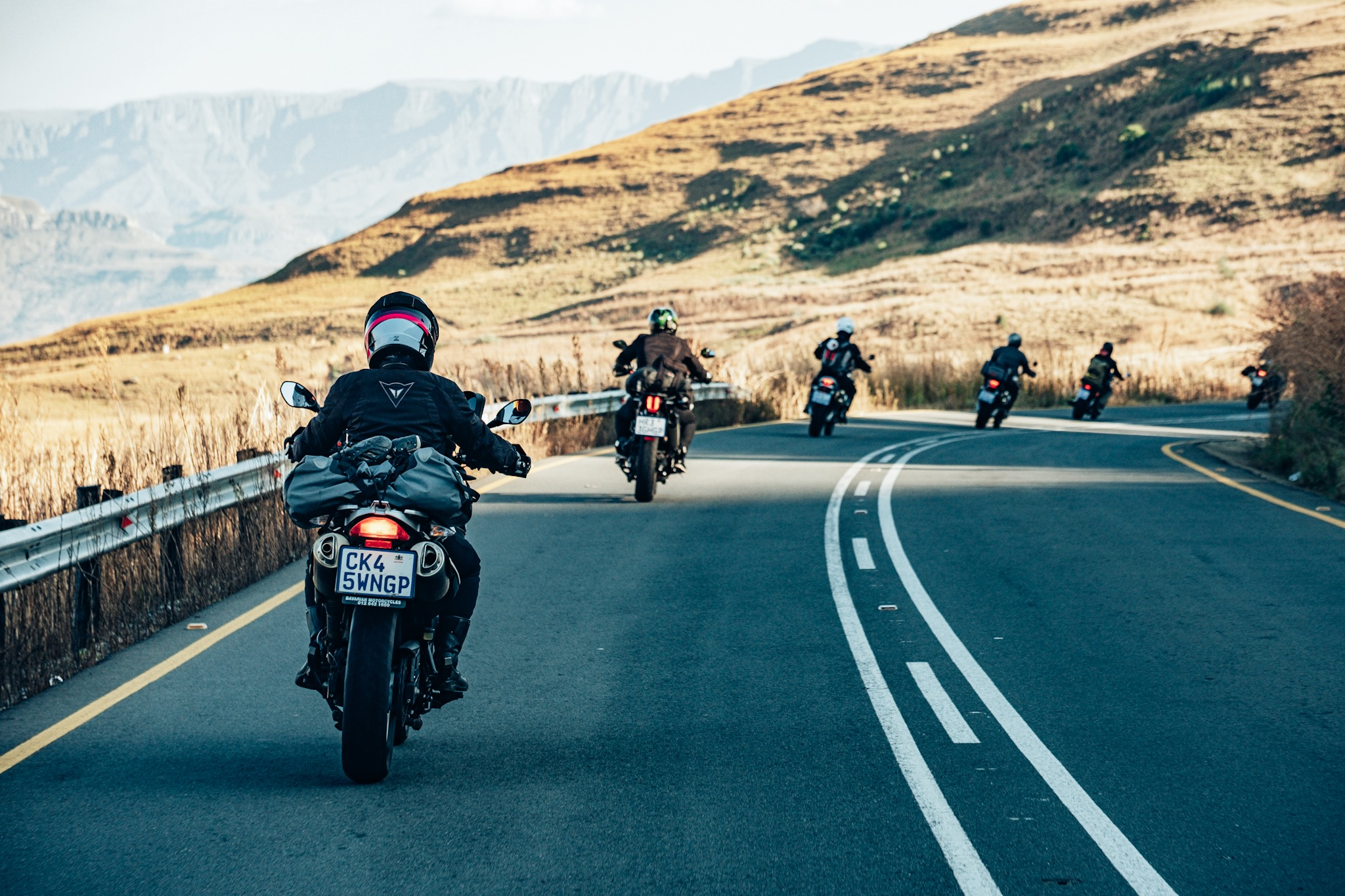 The group rolling through the winding roads just outside of Amphitheatre Backpackers in Bergville.