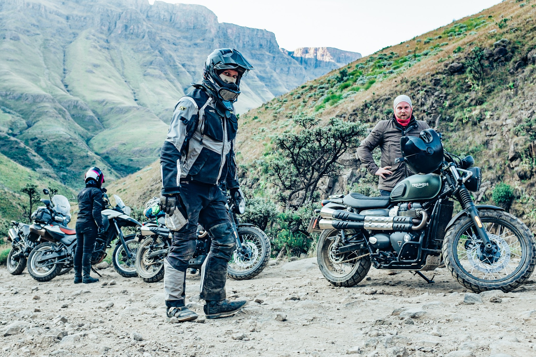 Our team doctor exhausted after helping out fellow riders pick up their bikes on the Sani Pass Moto adventure with Bonafide Moto Co.