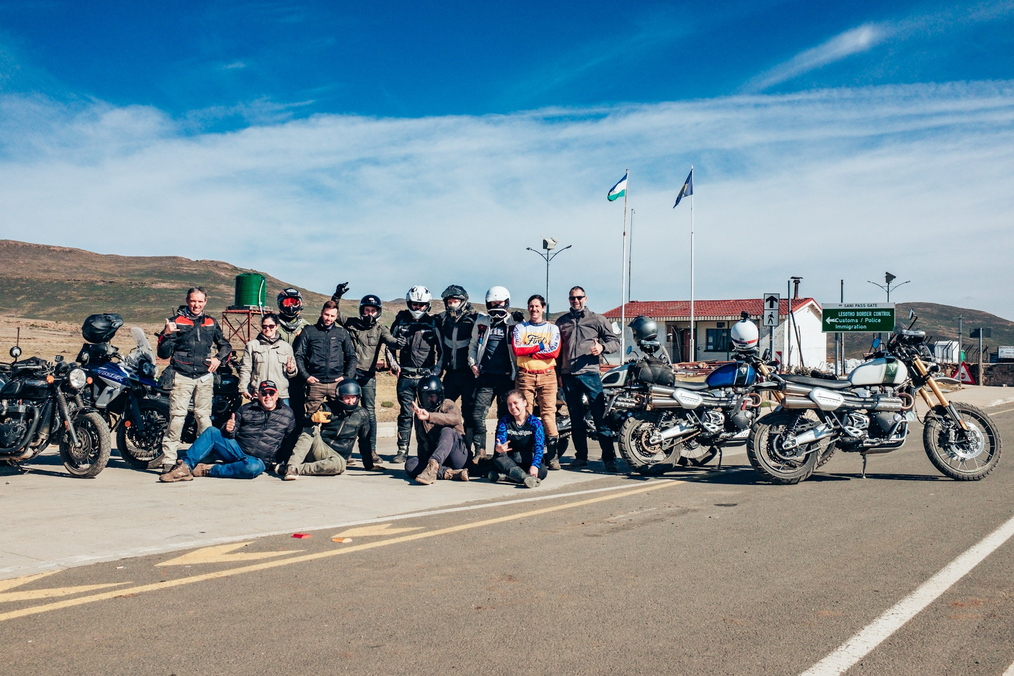 Everyone was thrilled to make it to the top of Sani Pass. Even the new Triumph 1200 Scramblers.