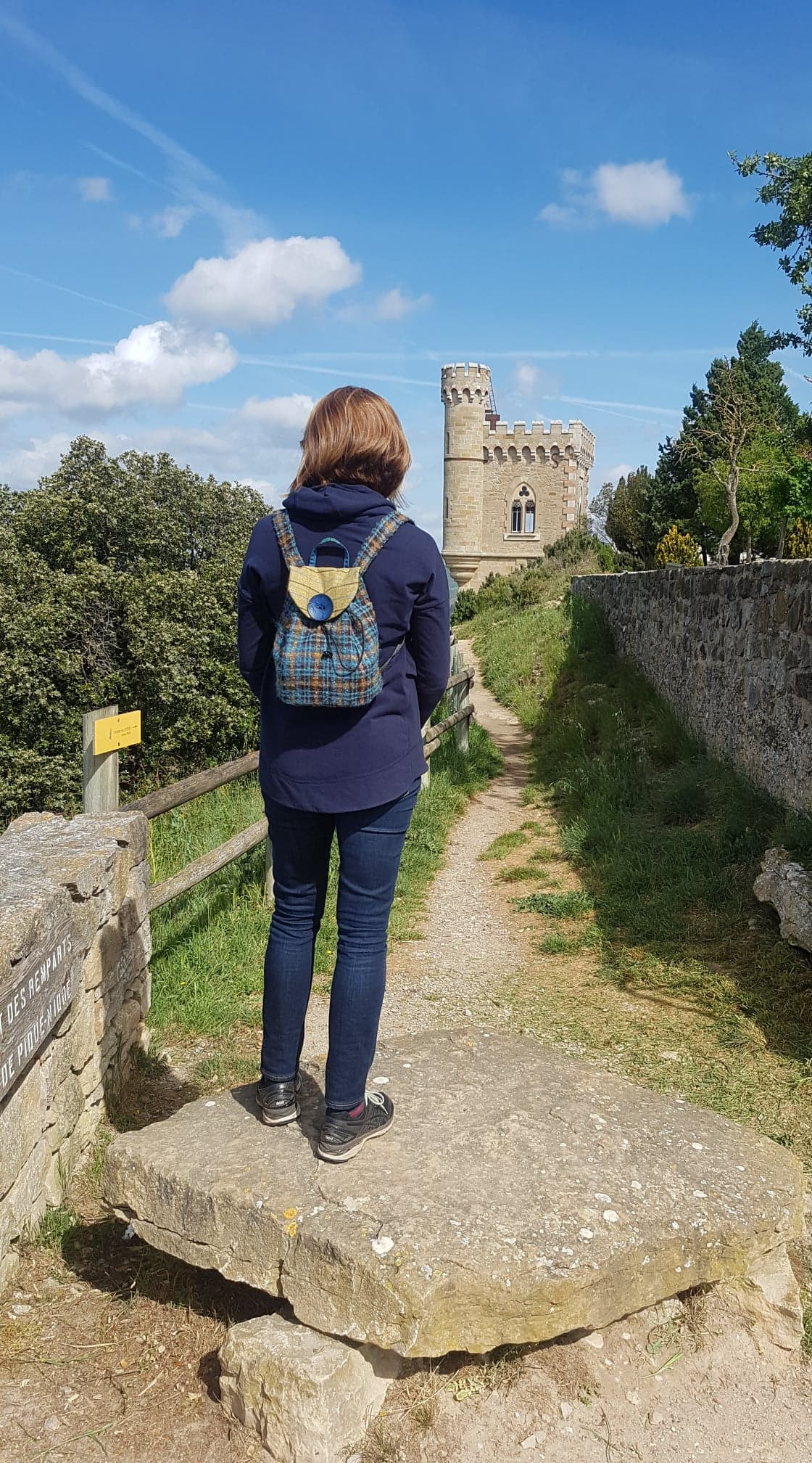 "Here is one of my lovely customers with her Ju-C rucksack at Rennes Le Chateau in France which is the basis of the da Vinci code book apparently. What a lovely photo.  ""Thought this rucksack deserved some travelling and the colours suited being in France"" Nicola"