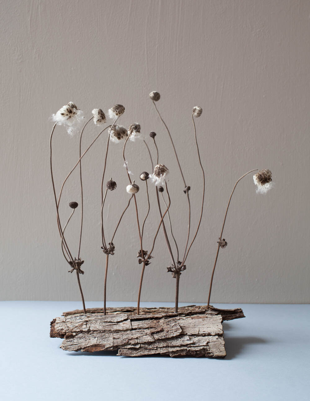 Seed heads and bark sculpture