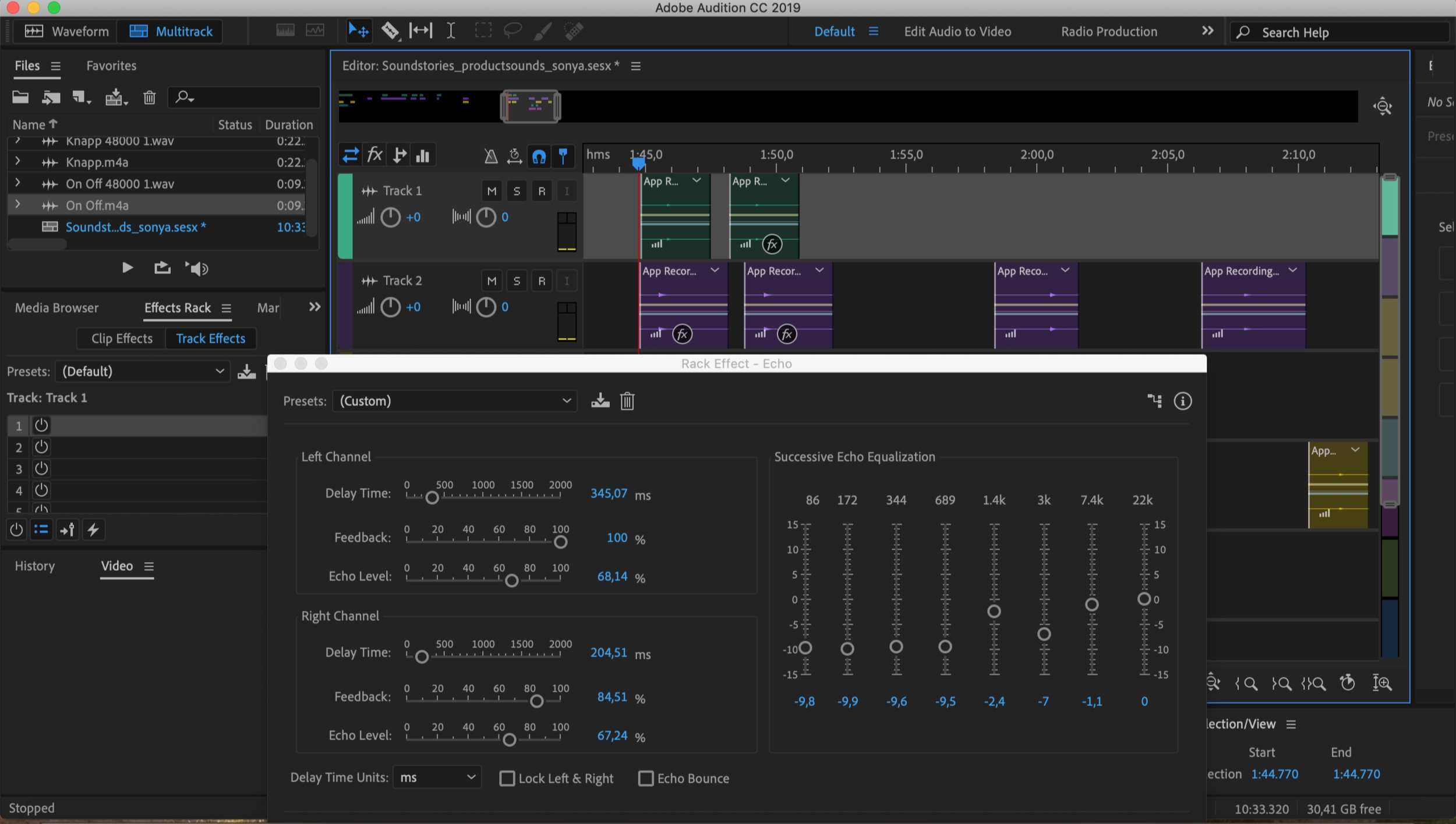 Then I adjusted the sounds from Massive in Adobe Audition