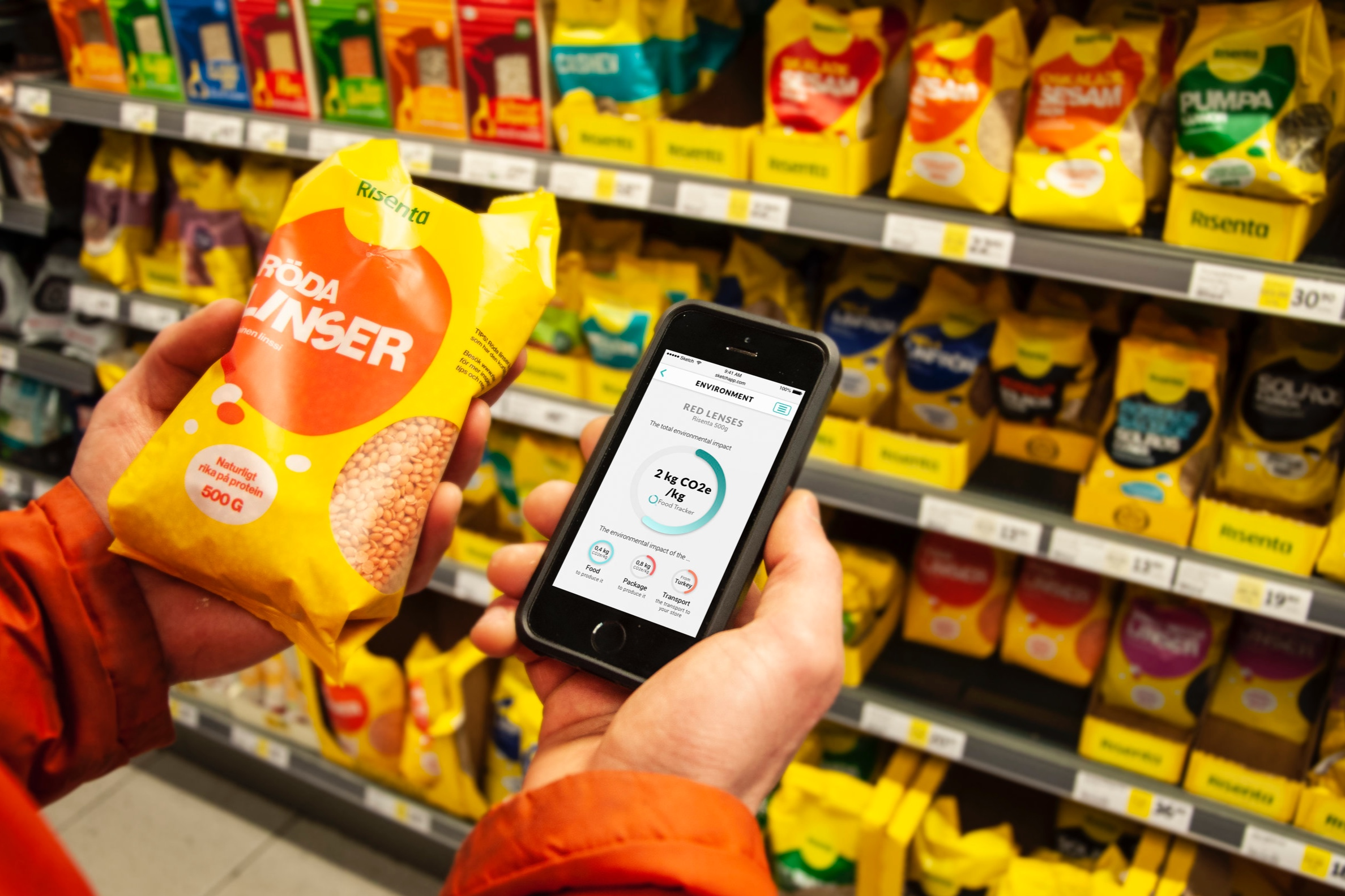 Food Tracker shares information about the product to the user, for example information about the products affect on the climate