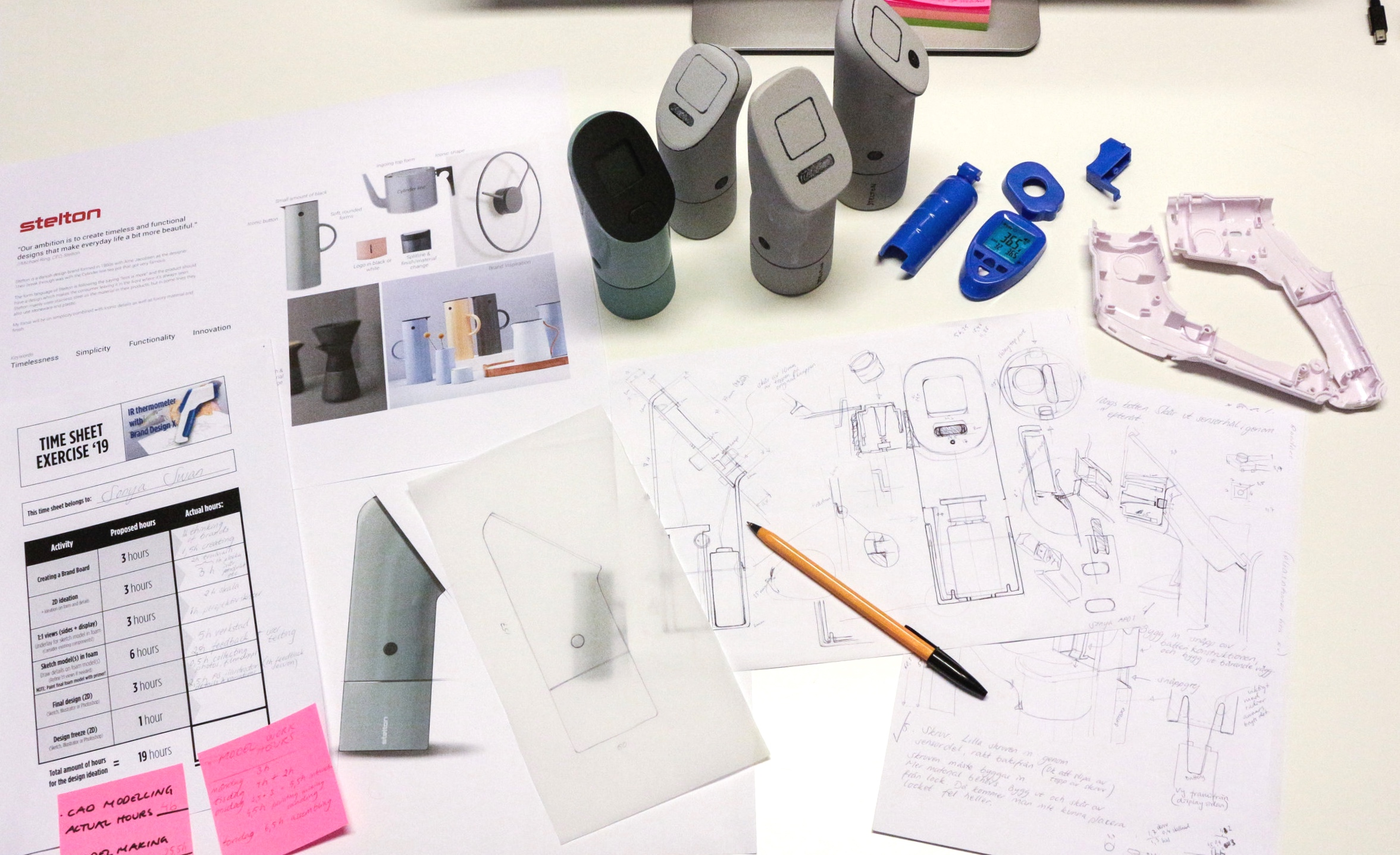 An overview of my work - From an existing product, through mock-ups and sketches to a working prototype.The messy 1:1 sketches to the right on the picture were the underlays to my CAD and modeling work - a lot to consider.