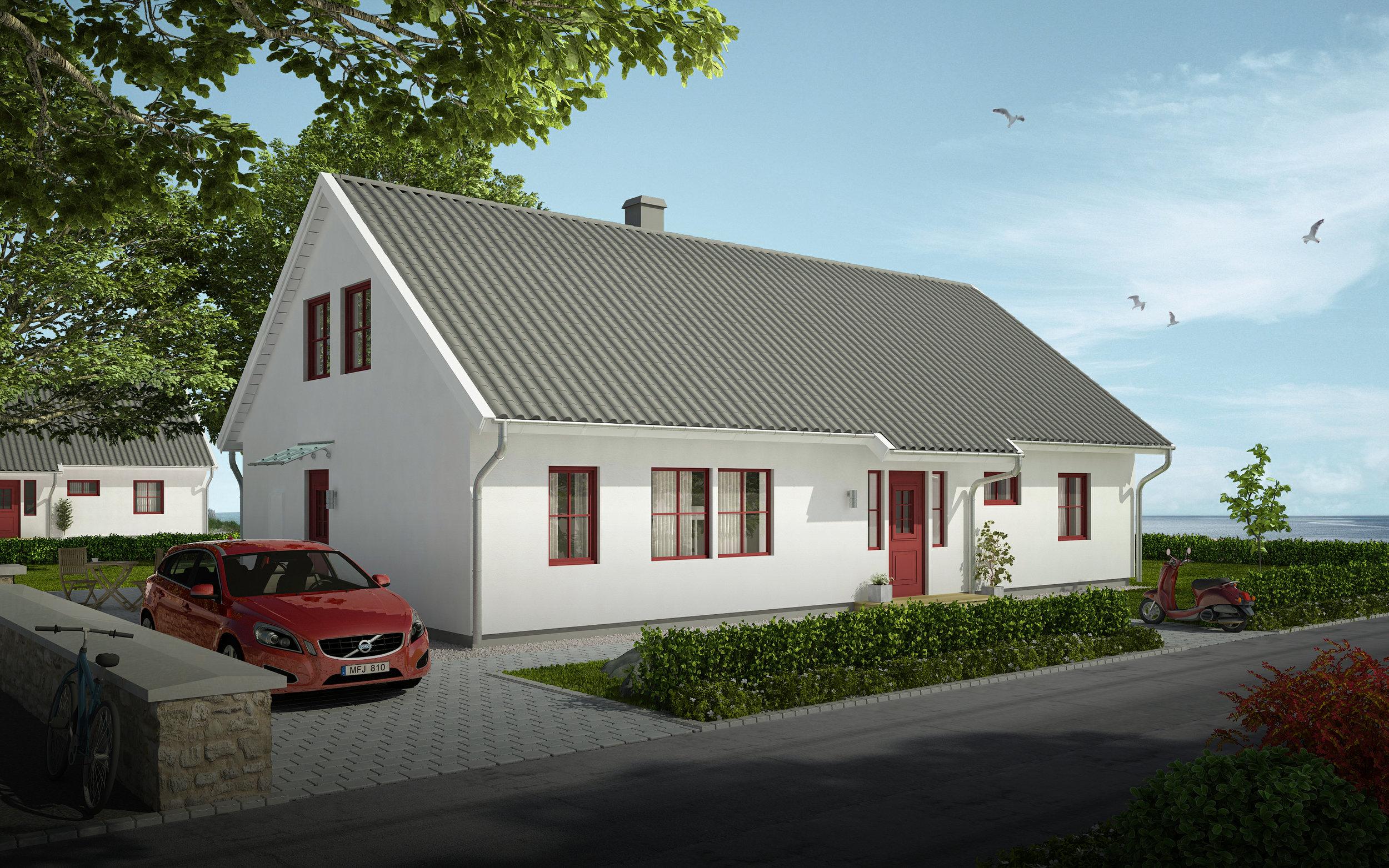 VILLA BJÖRKÅS  1,5-planshus Boyta: 177 m2  (möjlighet till + 64,7 m2)  3 sovrum