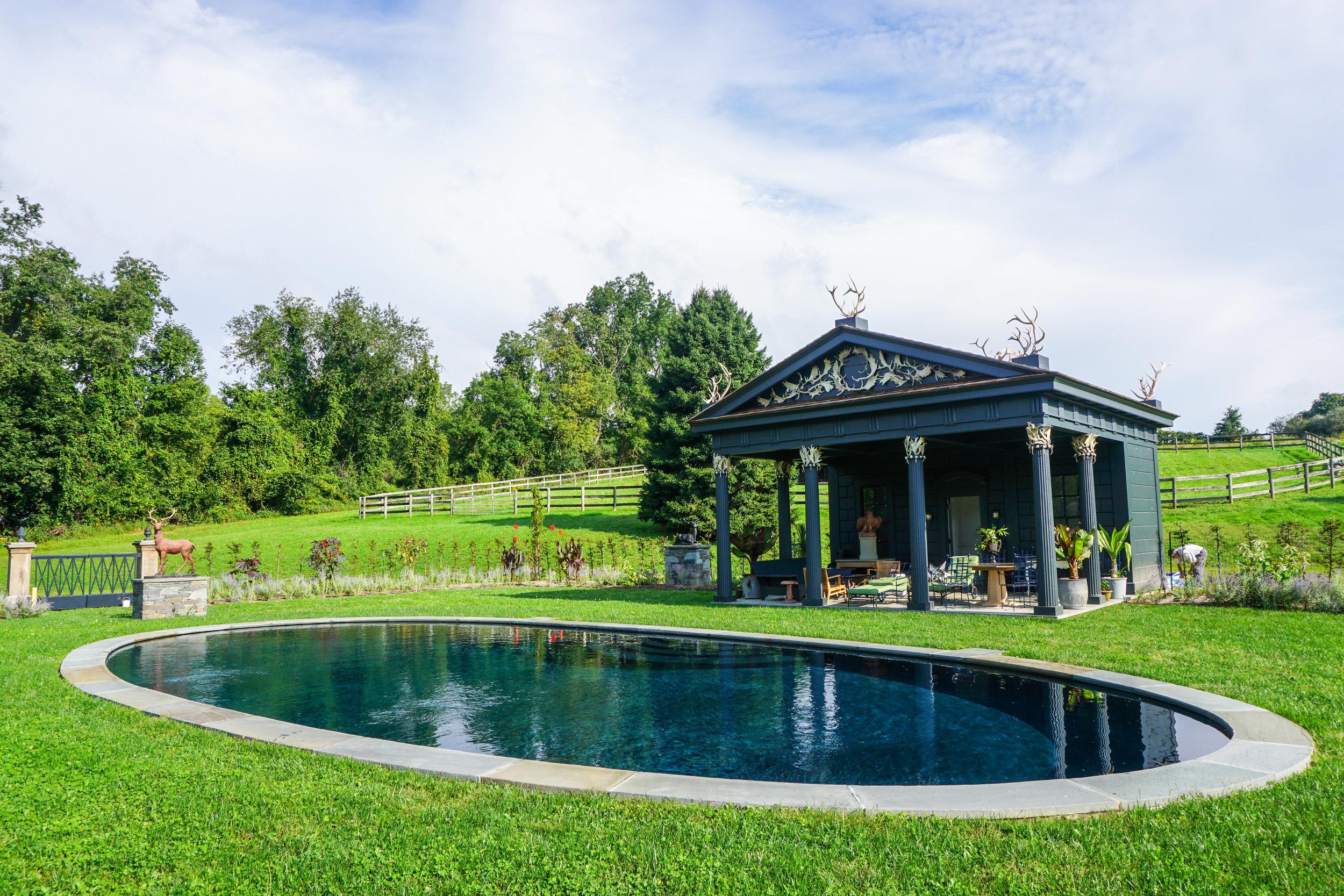 In-ground custom oval swimming pool
