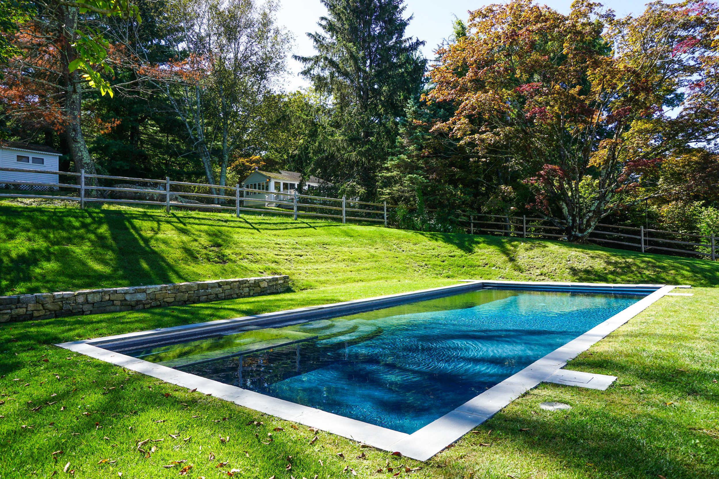 In-ground gunite swimming pool and spa