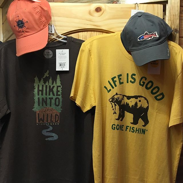 "Sun's out life is good!! Speaking of life is good, stop on in and check out our ""Life is Good"" gear! Currently on sale for 25% off! #lifeisgood"