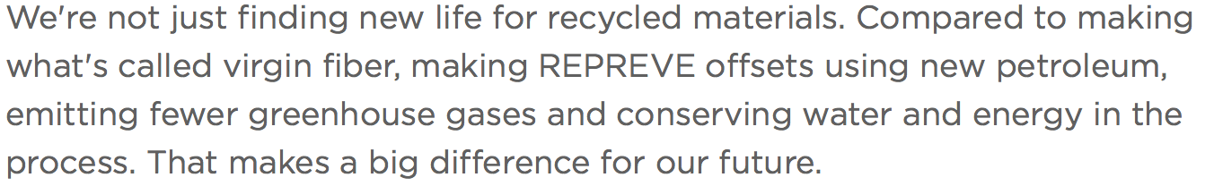 Repreve's statement on conserving resources