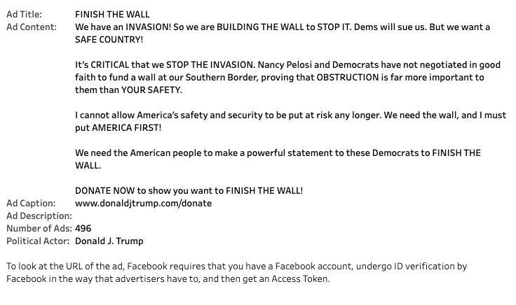 Trump Invasion Ad stats