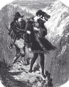 Gustave Doré - Manfred und der Gemsjäger - Holzstich 1853