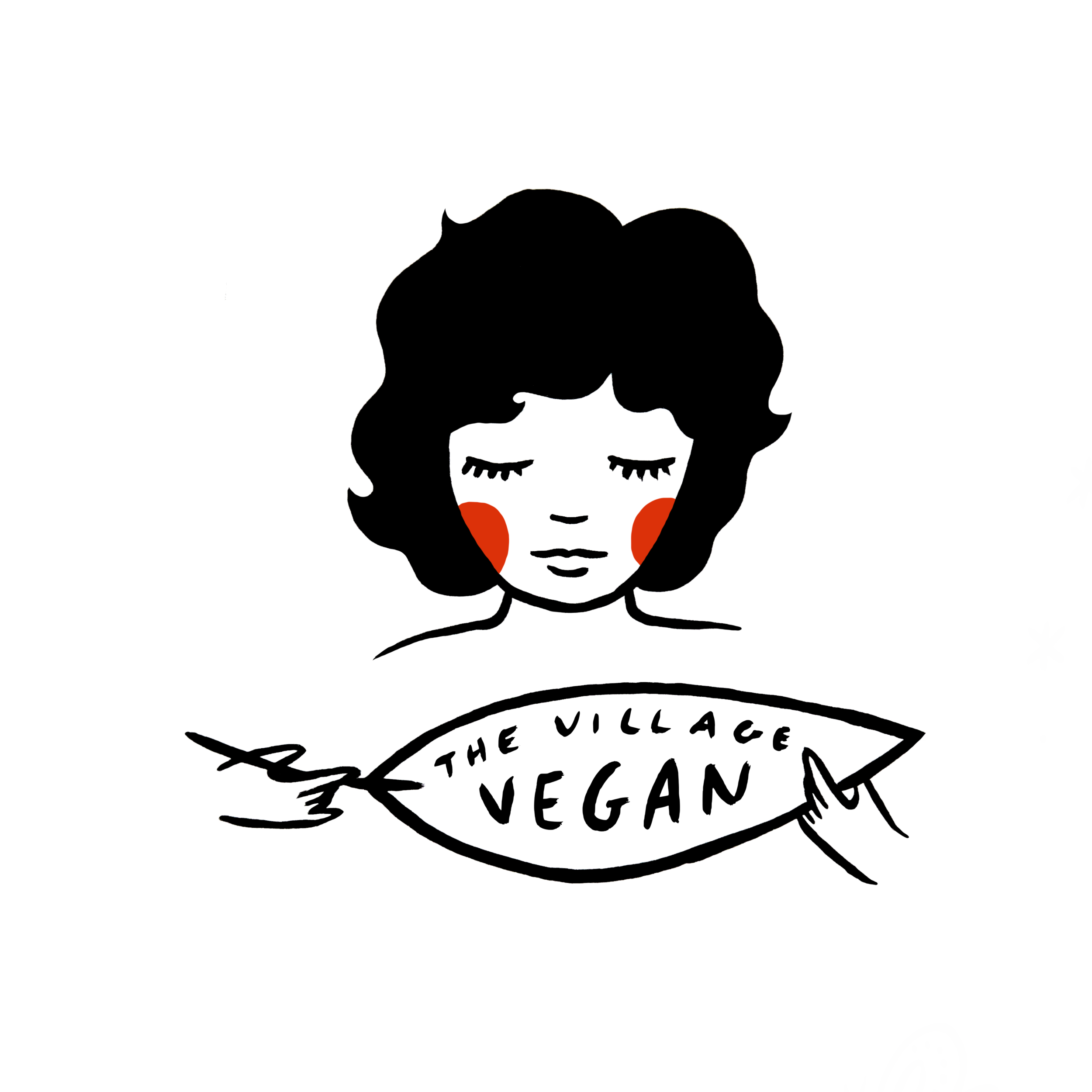 custom bakery character vegan hand painted illustration by em randall