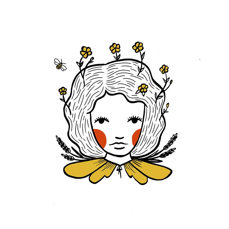 custom honey bee girl tattoo design by em randall