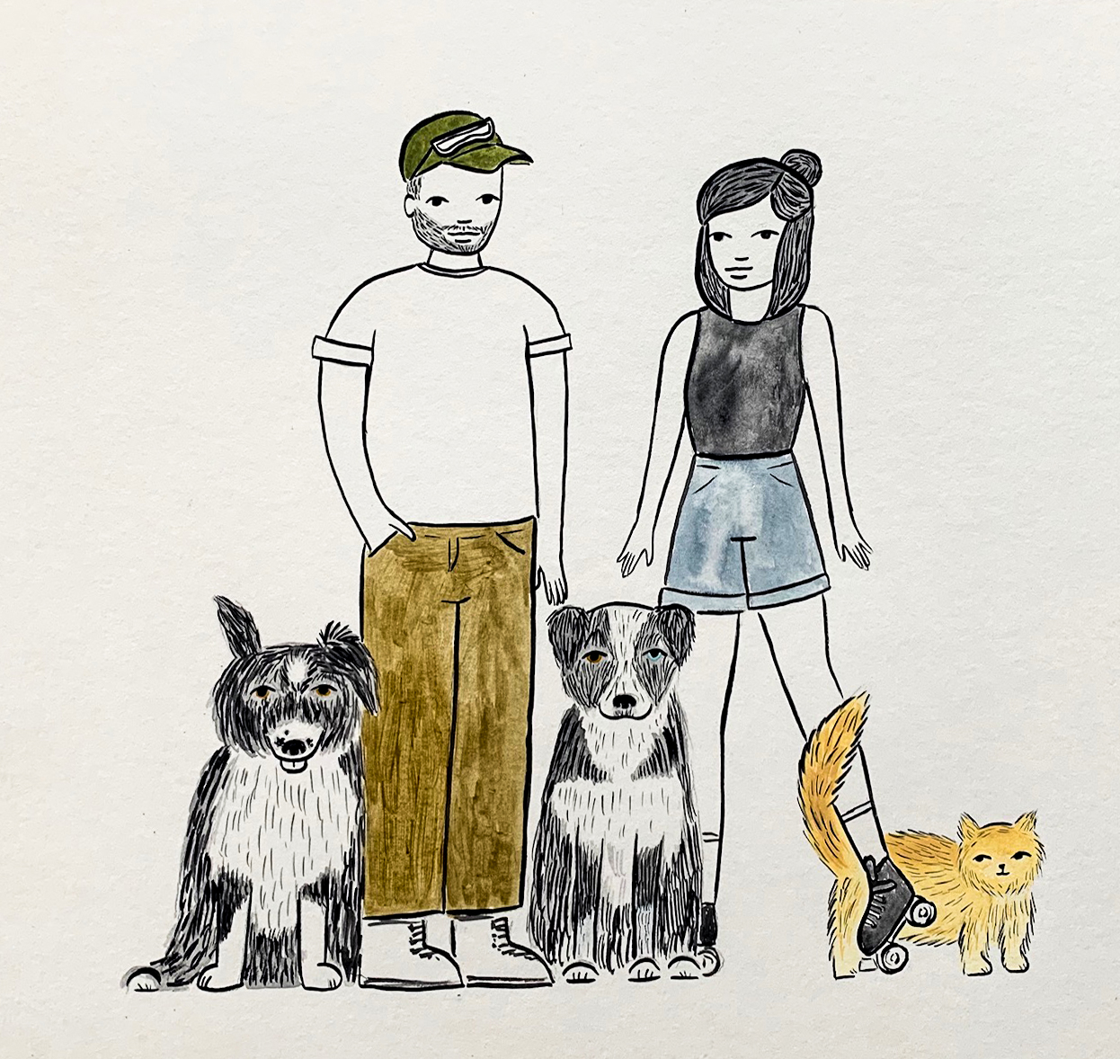 watercolor family portrait by em randall