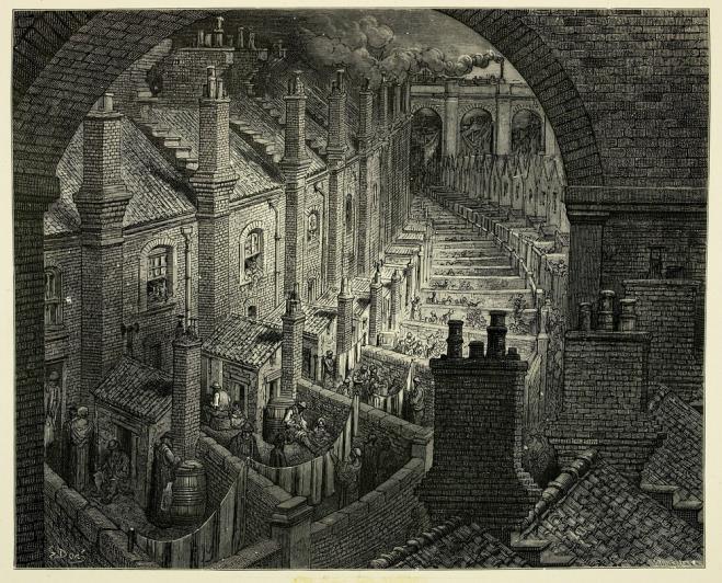 Die sozialen und wirtschaftlichen Zustände in England am Ende des 19. Jahrhunderts: Gustave Doré, Durch London mit der Bahn (1870).