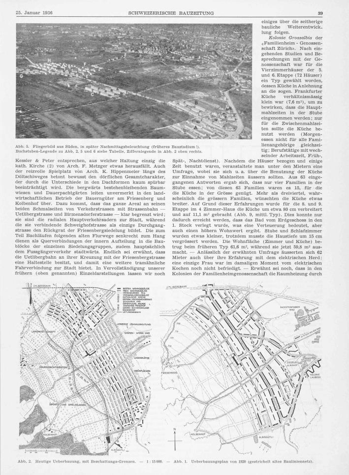 Die weitere städtebauliche Entwicklung des Quartiers Friesenberg: Bebauung Mitte der 1930er Jahre und Bebauungsplan von 1920.