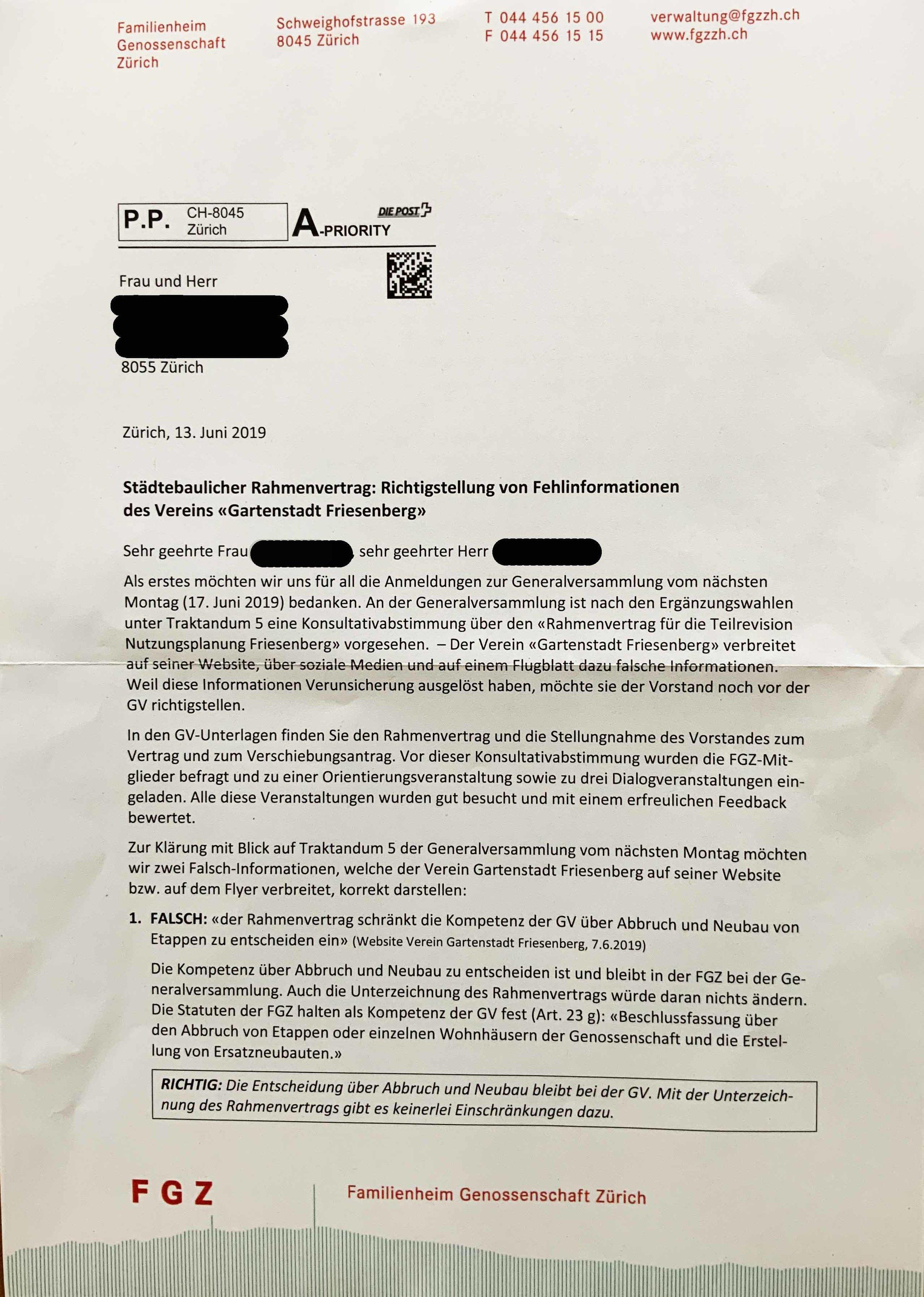 Brief FGZ-Vorstand vom 13. Juni.  Vergrössern durch Klicken