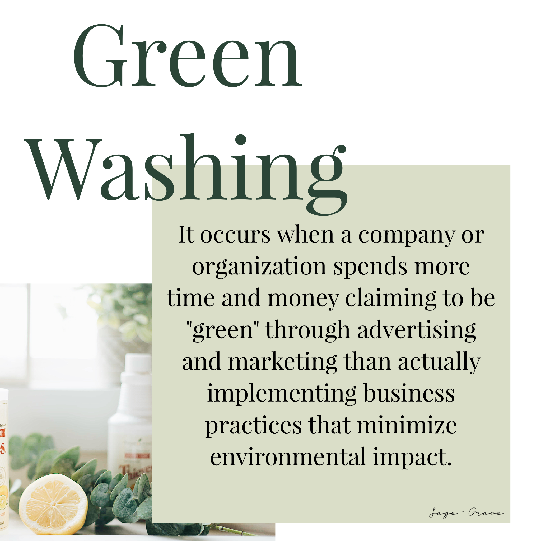 green washing - sage and grace