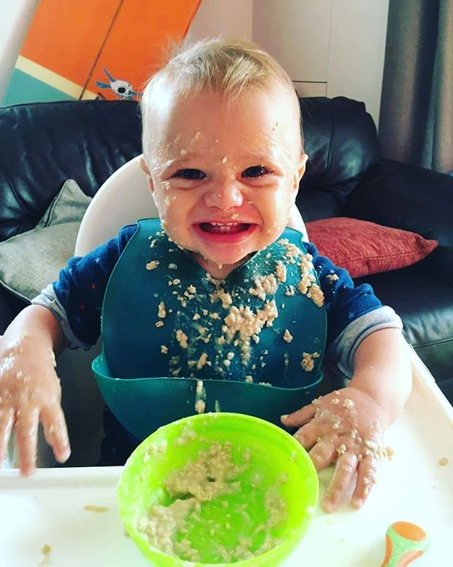 PORRIDGE ANYONE?? . . The aftermath of breakfast. Someone is to big to be fed now, he can feed himself apparently. . Well some went in.... I think . .  Muligrain porridge with oat milk and 3 dollops of banana and apple puree