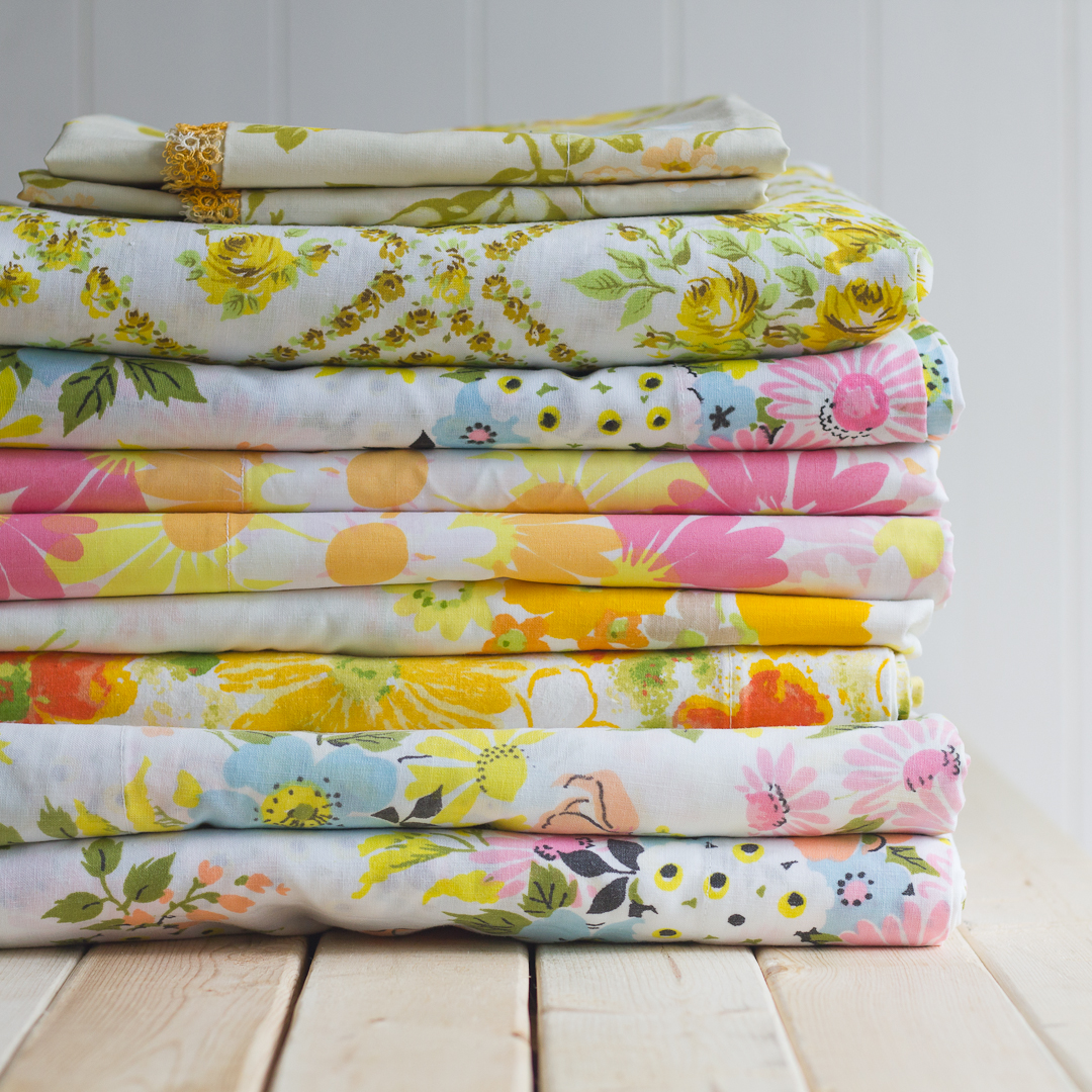Stack of Vintage Sheets from Cottage Magpie via www.angelamaywaller.com