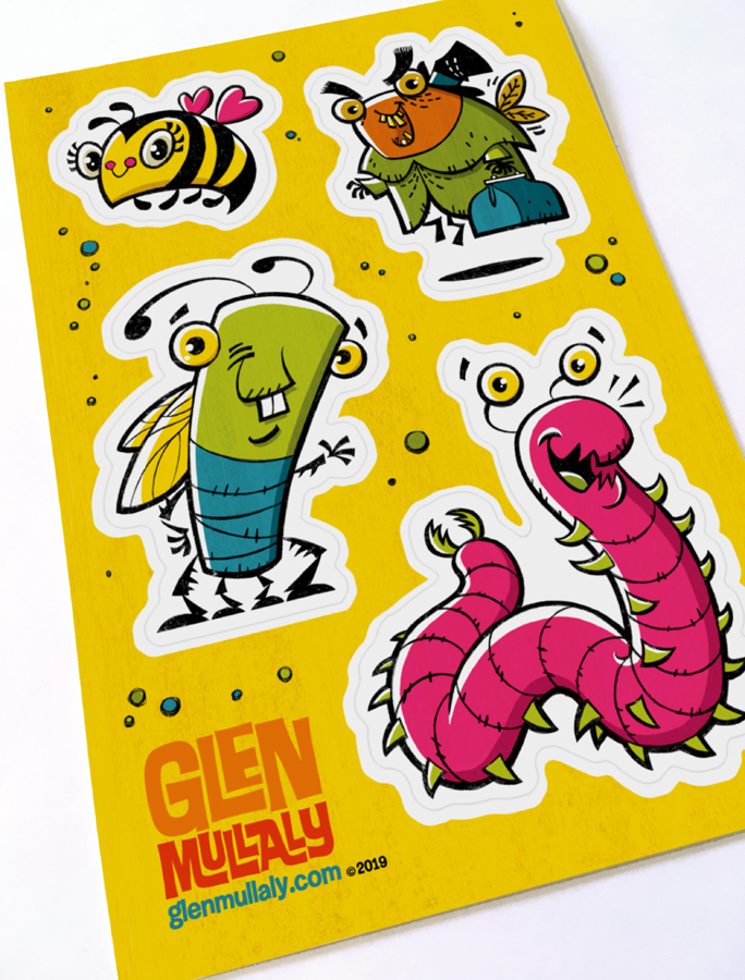 """BUGS: YELLOW"" 5"" x 7"" VINYL STICKER  5"" x 7.25"" (127mm x 184mm) high quality, thick durable vinyl sticker sheet with four peel and stick , kiss cut stickers. Scratch, water and sunlight resistant!  $7.00 CAD / $5.00 USD  Shipping $1 CAD in Canada / $1.50 USD to USA. Free add-on shipping with any other item."