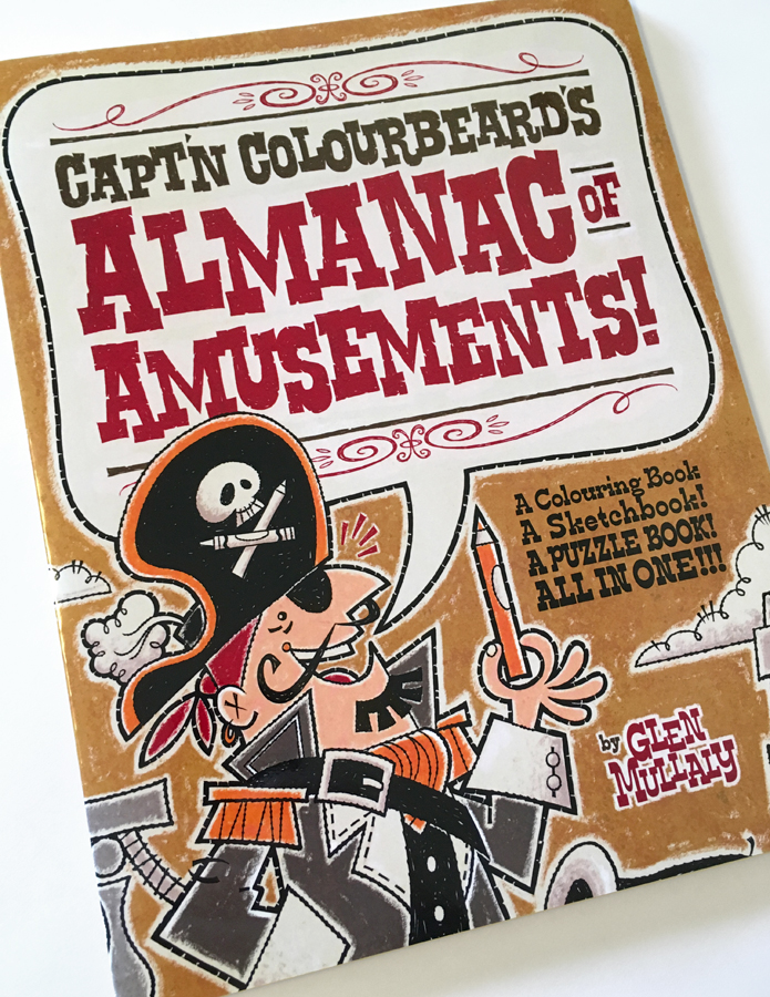 """CAPT'N COLOURBEARD'S ALMANAC of AMUSEMENTS!"" 72 page ACTIVITY BOOK  72 pages of puzzles, games, drawing and coloring activities! Color cover, black & white interior, softcover 8.5"" x 11"" (approx A4).  $10.00 CAD / $8.00 USD  Shipping $8 CAD in Canada / $8 USD to USA."