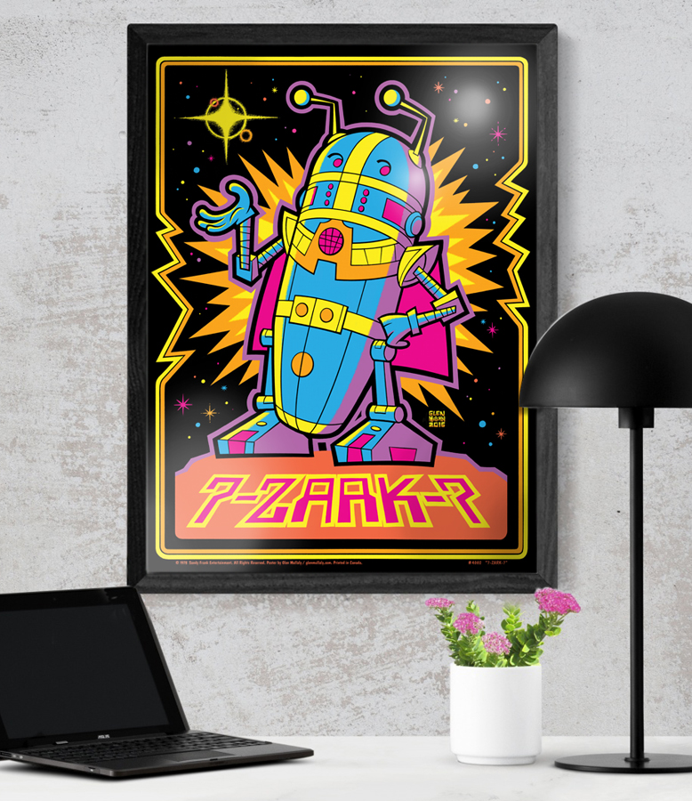 """7-Zark-7"" 18"" x 24"" POSTER  18"" x 24"" (45.7cm x 61cm)  Celebrate the space-crazy late 1970's with this signed, black light style (does not fluoresce) poster from our series of three rockin' robot characters. High quality, professionally printed poster on heavyweight 200 gsm semi-gloss paper stock. Shipped rolled in a cardboard shipping tube  $15.00 CAD / $12.00 USD  Shipping $12 CAD in Canada / $12 USD to USA.  (Frame - and lamp, and plant, etc - not included)."