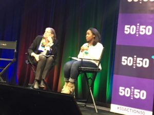 Erin Finlay (right) of Google addresses action steps during 50Action50. Kitty Vorisek, executive director of Lucas GC, Ltd., moderates.