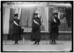 Alice Paul, Lucy Barnes and Doris Stevens in front of the White House, 1917