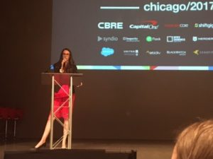 Amanda Signorelli, CEO of TechWeek, addresses issues of women in tech at the Chicago Growth Summit.