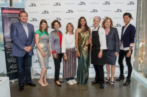 Rohini Dey creates mentorship for women in the culinary industry. L To R: Michael White, Gail Simmons, Dana Cowin, Emily Luchetti, Dey, Eliza Martin, Susan Ungaro, and Kristen Kish at the James Beard Foundation's Women in Culinary Leadership Dinner. (Photo by Ken Goodman, courtesy, James Beard Foundation).