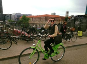 Leslie Heyer, founder of Cycle Technologies, cycles to a conference in Barcelona.