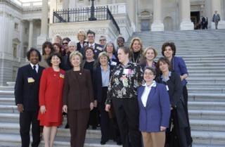 Take The Lead's president Gloria Feldt with Hilary Rodham Clinton