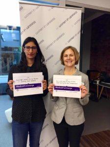 Farzana Nasser (left), co-president of Women In Wireless, with Jessica Ozrek, co-chair of WIW Global Talent team.