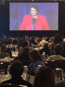 Stacey Abrams, running for Georgia governor, addresses the Power Lunch crowd.