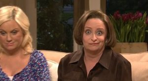 """Actress Rachel Dratch (r) played Debbie Downer on """"Saturday Night Live"""" with Amy Poehler, (l)."""