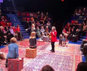 "Gloria Feldt (r) and Gloria Steinem (L) address the audience at the Take The Lead fundraiser performance of ""Gloria: A Life."""