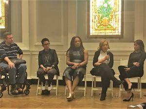At the recent See Jane Salon in Chicago, l. to r., Michael Patrick Thornton; Fawzia Mirza; Marlyne Barrett; Fay Ferguson; Nikki M. Jones.