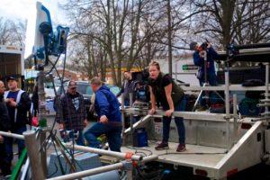 "Director Jen McGowan on the set of ""Rust Creek."""