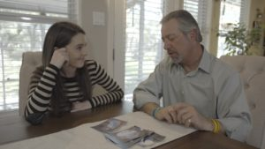 Eterneva Co-founder Adelle Archer with client David Oine, discussing the story of his late wife, Roberta.