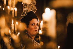 "In ""The Favourite,"" Olivia Colman portrays Queen Anne."