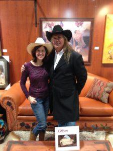 Carole Rains with Ernie Apodaca, a Native American artisan she represents in Rustic Artistry.
