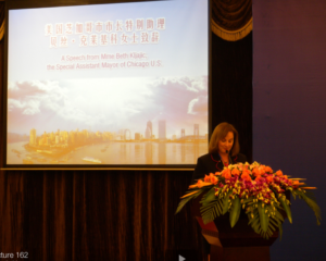 Beth Kljajic at a recent speech in China on financial advising.
