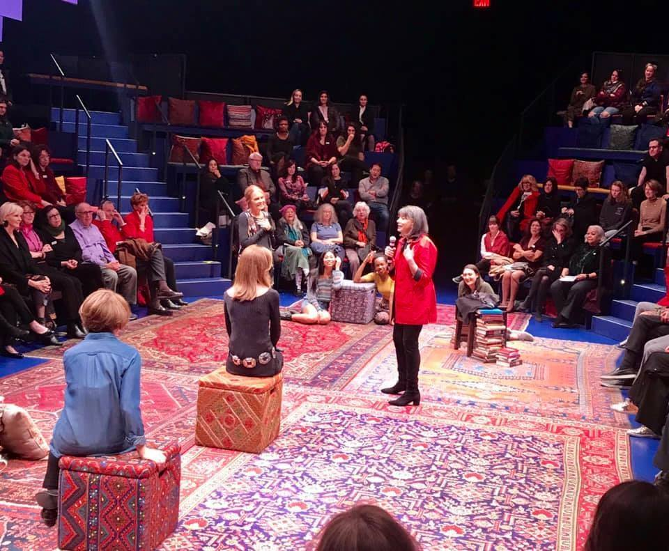 Gloria Feldt (r) and Gloria Steinem (L) address the audience at the 2018 Take The Lead fundraiser event.