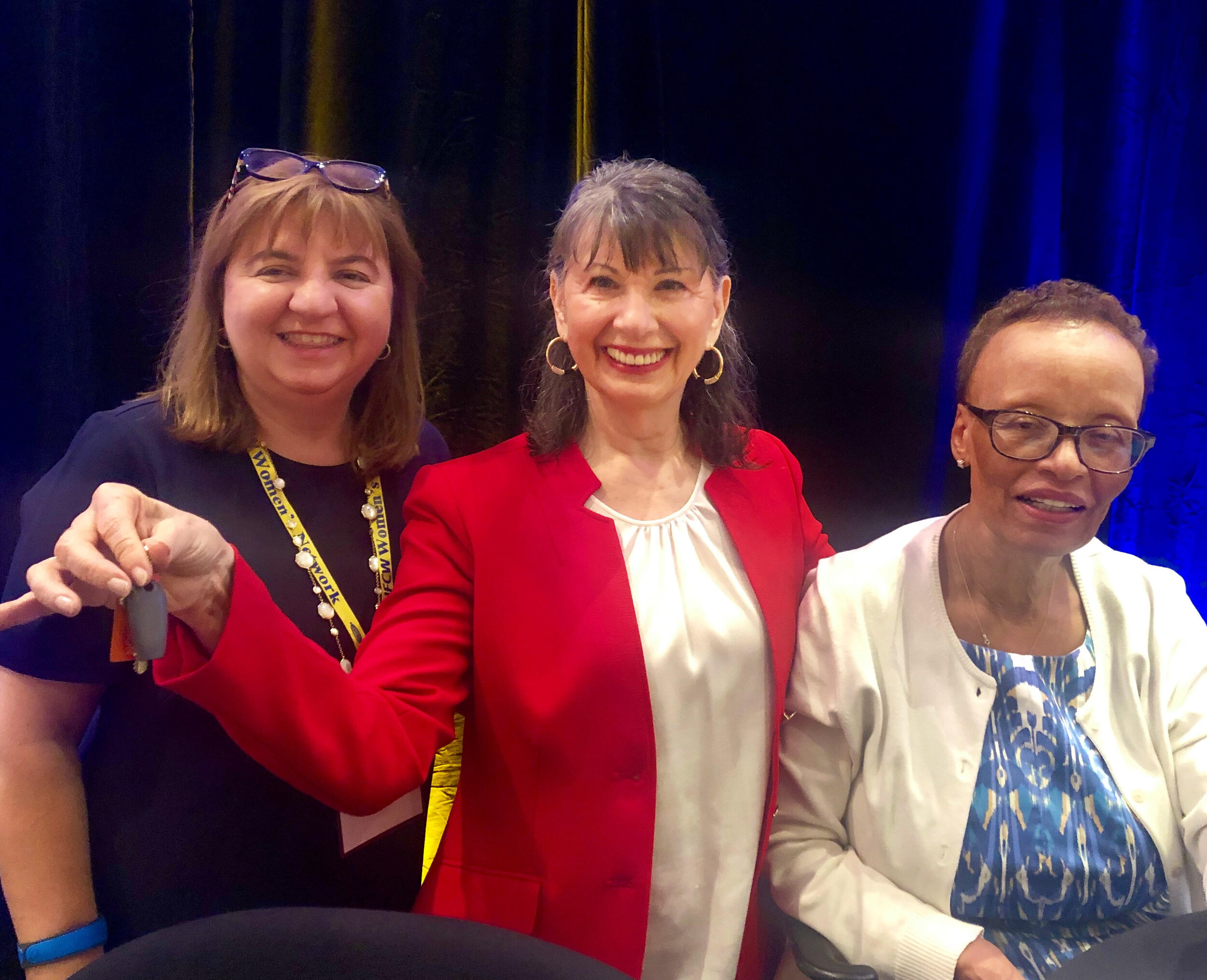 The keys were in my hand…the theme of my speech to the incredible women of UFCW biennial meeting in Orlando. L-R: Deliana Speights, me, Rhonda Nelson.