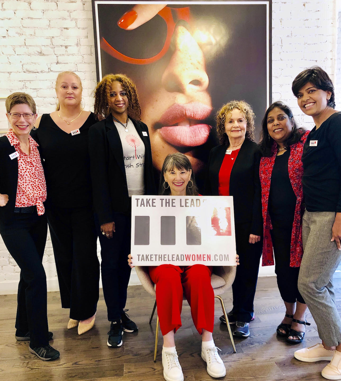 New Leadership Ambassadors ready to deliver the 9 Leadership Power Tools to you and your company. L-R Laura Smith Dunaief (LA Director), Alana Chavez, Colette Ellis, you-know-who in the middle with big feet, Francesca Burack, Surabhi Lai, Vidhi Data.