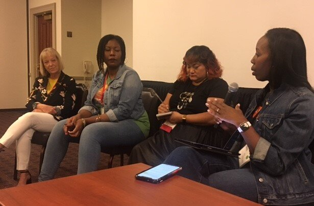 Journalism innovators speak on leadership (l to r) Kristin Gilger, Jhimira Alexander, Jennifer Kho and Mira Lowe at the recent Journalism & Women Symposium in Williamsburg, Va.